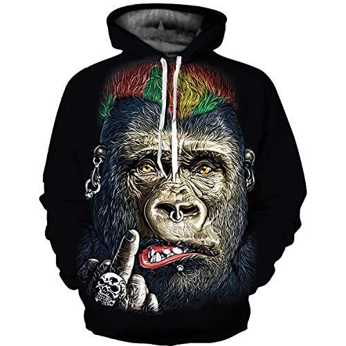 Kjwsbb 3D Hoodie Gorilla Sportswear Mode Langarm Herren und Damen Pullover @XXL