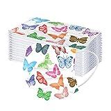 Damonday Protección 3 Capas con Elástico 𝐌𝐚𝐬𝐜𝐚𝐫𝐢𝐥𝐥𝐚𝐬 Adulto para Los Oídos Pack 10/50/100 unidades,Estampado de mariposas 20201110AH