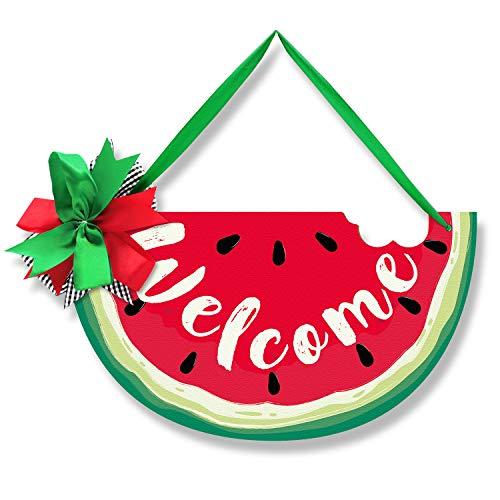 Watermelon Door Sign Summer Welcome Door Hanger Wood Front Door Wreath Decor Wall Hanging...