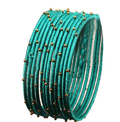 Touchstone Seidenfaden Armreif Sammlung handgefertigten Faux Seidenfaden exotischen Look Perlen Aqua blau Designer Armreifen Armbänder für Damen 2.5 Set von 12 Wasserblau