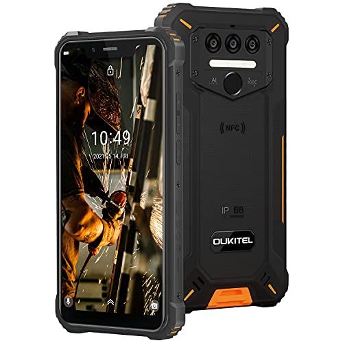 Móvil Libre Resistente, OUKITEL WP9 Android 10, 6GB+128GB Teléfono Móvil 48MP+16MP Cámara, 5.86'' FHD+ Pantalla Impermeable IP68 Robusto Smartphone, 4G Dual SIM Movil Batería 8000mAh NFC (Naranja)