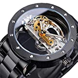 Moda de Hombre Moda Esqueleto Automático Dial Analógico Diseño único Joyas Reloj con Correa de Acero Inoxidable
