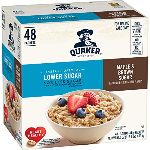 Quaker Instant Oatmeal, Lower Sugar Maple and Brown Sugar, Individual Packets, 48 Count