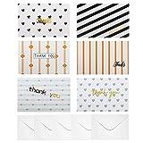 Dankeskarten (48-er Pack) 15,2cm x 10,2cm Danke Karten Grußkarten mit Umschlägen - Dankeschön Postkarten in 6 Designs - für Festtage, Danksagungskarten Hochzeit, Gutscheine, Babyparty, Geburtstag