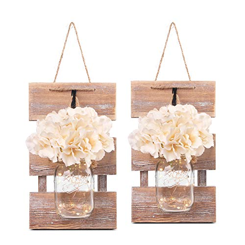 Besuerte Mason Jar Wall Sconces, Rustic Brown Wall Hanging Decor, LED Fairy Lights with Automatic On and Off 6-Hour Timer (Set of 2),Brown