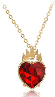 Evie Costume Queen of Hearts Gloden Crown Necklace Dress Up Pendant for Descendants Fans Red Heart Princess Jewelry Access...