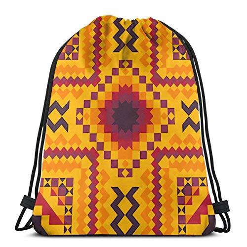 メキシカンラグセラペストライプアーツパック可能なスポーツジム巾着サックパックバックパックバッグ男性用、女性17x14インチ