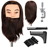 Neverland Beauty Man Mannequin Head with 12 Inch Male Beard Synthetic Hair Training Head Hairdressing Styling Cosmetology Manikin Doll Head with Clamp Stand