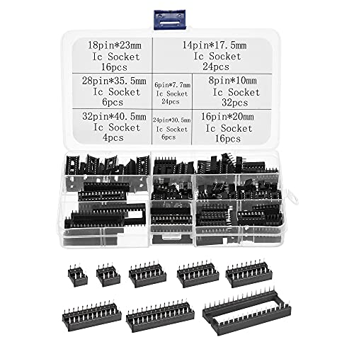 sourcing map Dip IC Chip Enchufe Adaptador 2,54mm Paso Doble Fila Plana Pines Chip Conector 6,8,14,16,18,24,28,32 Pines