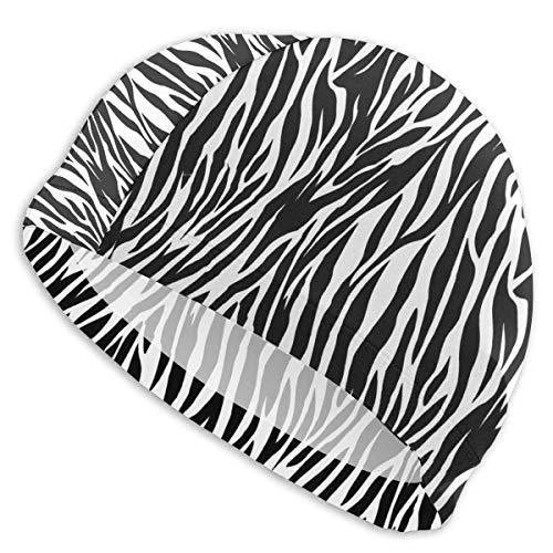 NAA Textur Schwarz-Weiß-Badekappe Hochelastische Strand-Badehut für Männer Frau