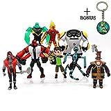 Ben 10 Action Figures – 9-Piece Ben10 Figurine Set with Keychain – Includes Four Arms, Grey Matter, Kineceleran, Diamondhead, Tennyson – Safe and Durable