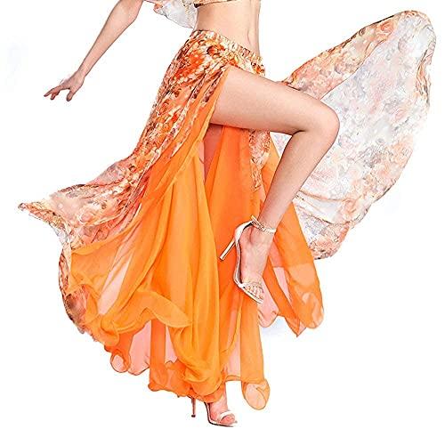 ROYAL SMEELA Spódnica do tańca brzucha kostium ubrania dla kobiet dziewcząt swobodnie kwiatowy szyfon taniec przedstawienie spódnice maxi flamenco karnawał kostiumy do tańca brzucha
