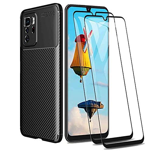 WEIOU Fibra de Carbono Funda para ASUS ROG Phone 5 + 2 Cristal Templado, Carcasa Protectora Antigolpes Suave TPU Silicona Caso Resistente a los Arañazos. Negro