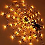 SHYOSUCCE Decoración de Halloween Luz de Tela de Araña , 1 M de Diámetro, 70 piezas Luces LED Naranjas con Araña Negra, Control Remoto para Fiesta, Patio, Bar, Casa Embrujada