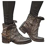 GHrcvdhw Stylish Women Boots Leather Buckle Ankle Boots Large Size Side Zipper Retro Casual Thick Heel Booties Shoes Coffee