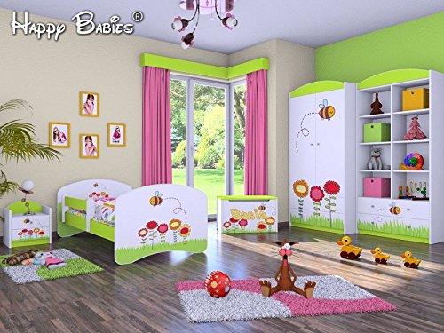 naka24 5-teiliges Set Jugendzimmer Kindermöbel Insekten Kinderbett für Mädchen/Jungen