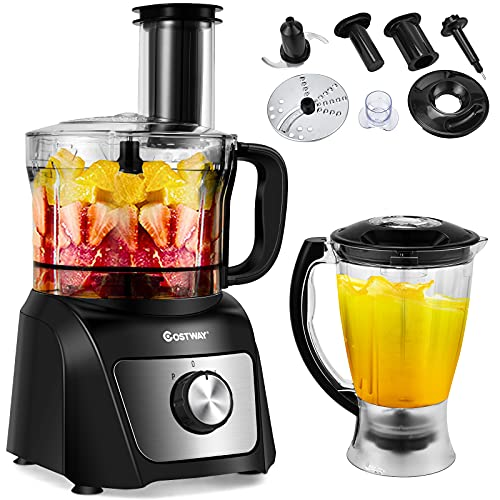 COSTWAY Food Processor & Blender, 500W Professional Electric Food Chopper with 3 Blades, 3-Speed Adjustment, Dual Safety Lock Design, Large Capacity Bowls, Ideal for Crushing, Slicing, Shredding, Juicing