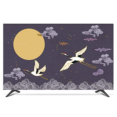catch-L Pintura China Grúa Decoracion Sala De Estar TV LCD Cubierta De Polvo Cubierta Antipolvo (Color : Purple, Size : 65inch)