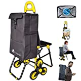 VOUNOT Foldable Shopping Trolley with Seat, 3 Wheels Stair Climbing Grocery Cart, Waterproof