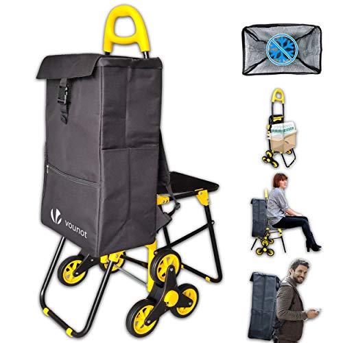 VOUNOT Einkaufstrolley Treppensteiger mit Kühlfach und Klappsitz, Einkaufswagen Klappbar mit 3 Räder, 35 L