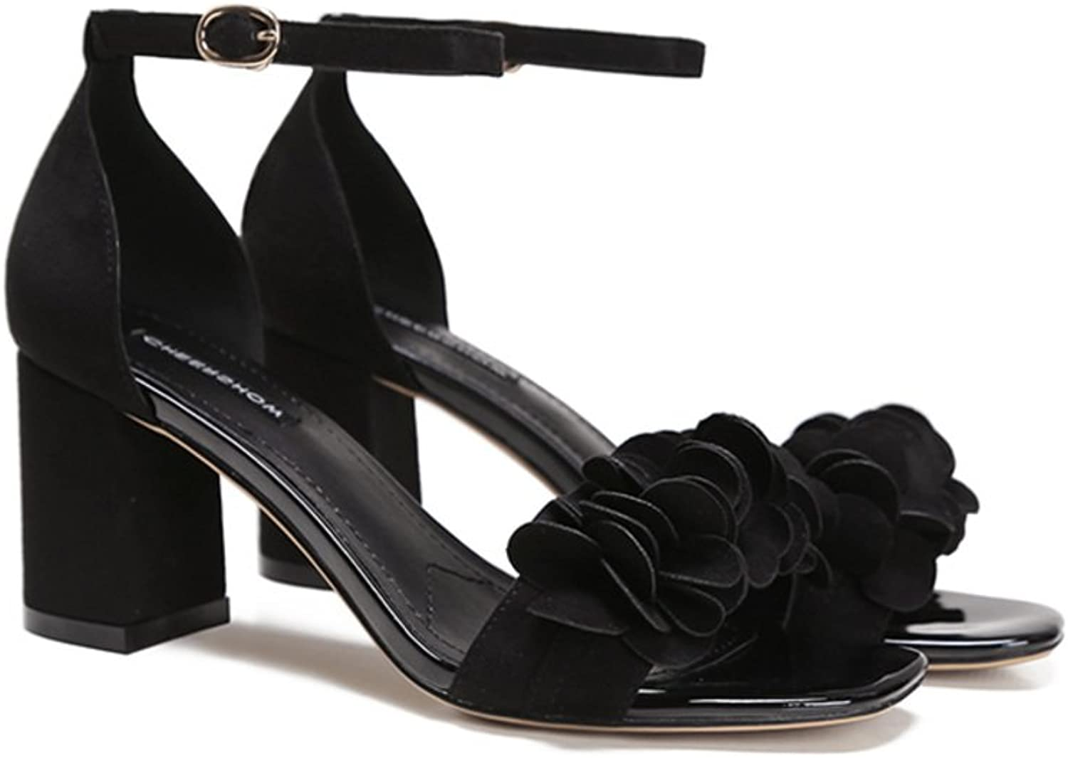 Buckle Chunky Heels High Heels Open-toe Sandals With A Solid color-Black Foot length=21.8CM(8.6Inch)