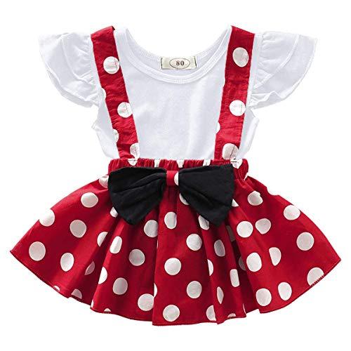 FYMNSI Bebé Niña Vestido de Lunares Primera Fiesta de Cumpleaños Ropa Camisa + Falda de Tirantes + Diadema de Bowknot Set 3pcs / 2pcs Set