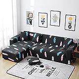 WXQY Funda de sofá elástica Funda de sofá de Sala de Estar Moderna, sofá de Esquina en Forma de L Necesita Comprar 2 Piezas, patrón de Hojas A2 de 3 plazas