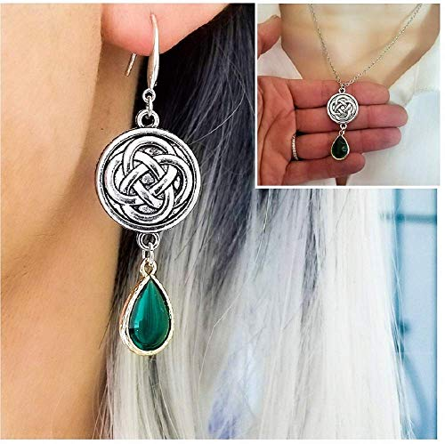 Scottish Irish Celtic Knot drop Earrings and Necklace - Emerald Green Celtic Claddagh Jewelry gifts for Women her