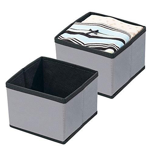 mDesign Juego de 2 organizadores de armarios de polipropileno – Cajas de tela rectangulares para sujetadores, calcetines y ropa interior – Cesta para organizar juguetes – gris oscuro/negro