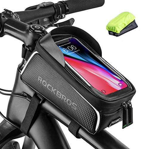 ROCKBROS Fahrrad Rahmentasche Wasserdicht Lenkertasche Oberrohrtasche Touchscreen für iPhone XR XS MAX X 8 7 6 Plus/Samsung Galaxy S10+ Note 9 / Huawei P30 Pro Smartphones bis zu 6.5 Zoll