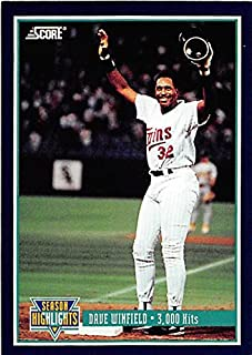 Dave Winfield baseball card (Minnesota Twins Hall of Fame) 1993 Score #629 3000 Hit