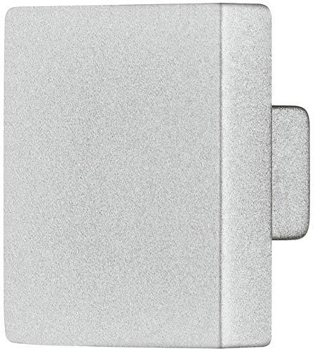 Gedotec - Pomello per mobili e armadi, forma quadrata, per cassetti, misura grande, Ø 25 x 25 mm, 1 pezzo, design con pomello per mobili e comò, Argento