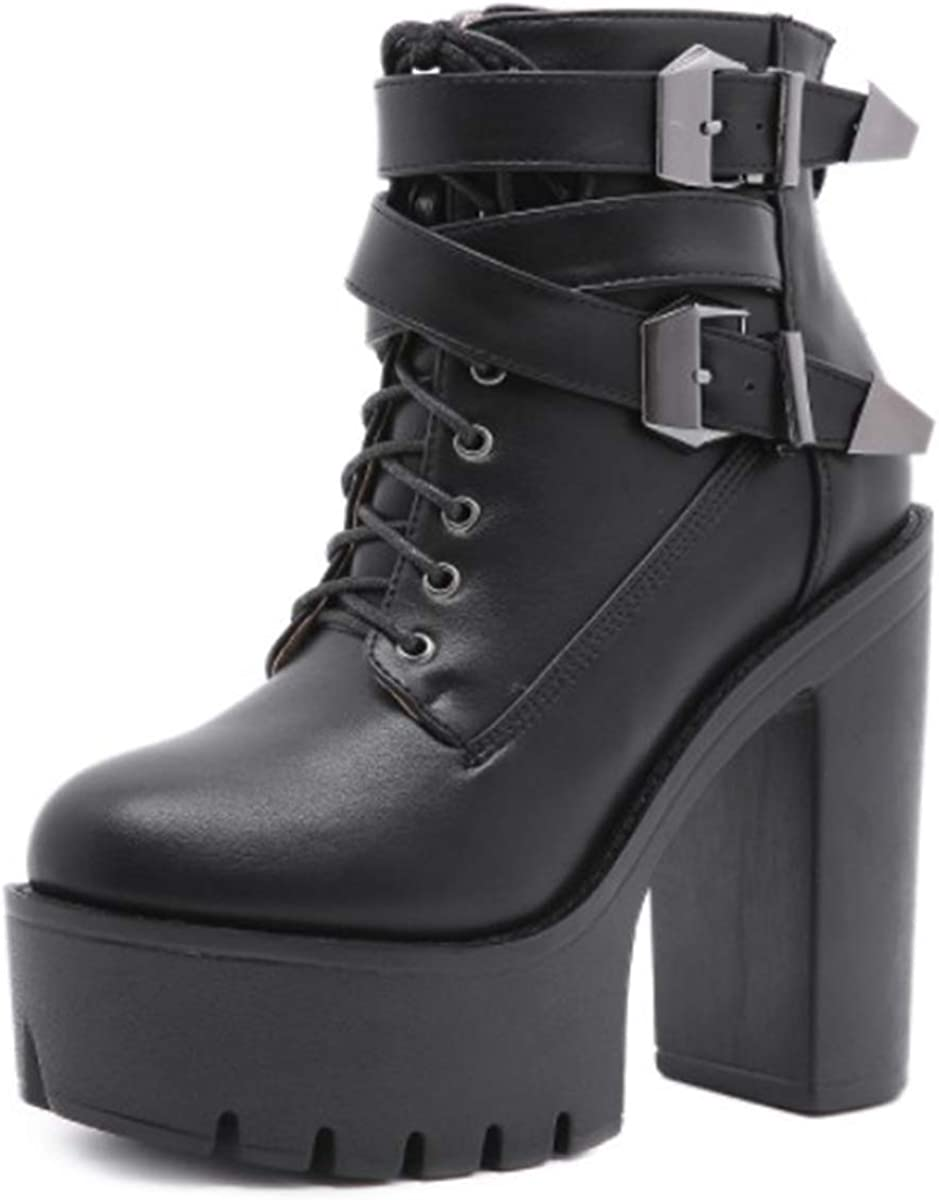 heelchic Women's Sexy Chunky Block Platform La wholesale High Columbus Mall Boots Heeled