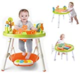 3 in 1 Baby Jump Rocking Chair, 360-degree Rotating Seat 3-Stage Children's Fun Activity Center Workbench, Bounce Baby Saucer Jump and Learn Jumper, Great for 4-36 Months Toddler