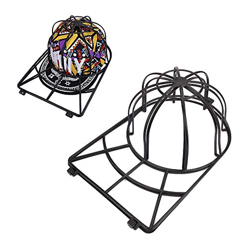 Hat Washer for Washing Machine,2 Pack Cap Washer for Dishwasher,Baseball Cap Washer for Flat or Curved Bill,Ball cap Washer Rack,Plastic Hat Cage for Washing,Hat Wash Cleaner Protector (2 Black)