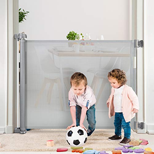 Retractable Baby Gate, RONBEI Dog Gate Mesh Safety Gates for Babies and Pets,Extra Wide Safety Baby Gates for Stairs, Doorways, Hallways, Indoor/Outdoor,34' Tall, Extends to 54' Wide