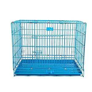Lovely PET'S KINDOM-Double Door Folding Metal cage with Removable Tray and paw Protector for Dogs,Cats and Rabbits-24' Inch (Blue)