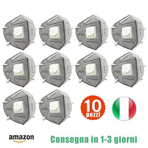 Katomi 10 pezzi di Facciale protettiva personale a 6 strati con valvola, nasello regolabile, Magazzino italiano, Consegna in 1-3 giorni