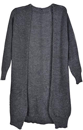 styleBREAKER Damen Grobstrick Cardigan mit aufgesetzten Taschen, Strickjacke ohne Verschluss, Strickmantel, OneSize 08010064, Farbe:Dunkelgrau