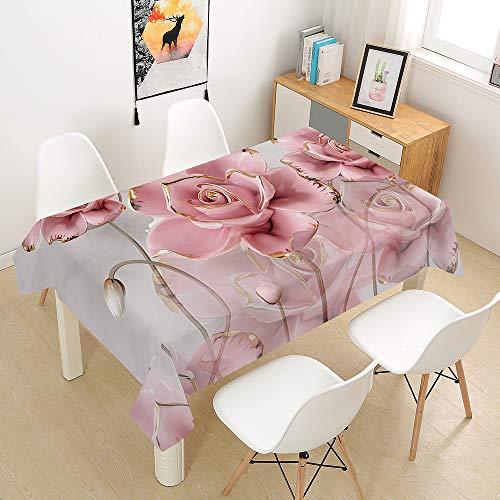 Hiser Tischdecke Wasserdicht Tischwäsche, Rechteckig Abwaschbar 3D Rose Drucken Polyester Tischdecken Abwischbar Tischtuch für Küche Party Outdoor Garten (rosa,140x200cm)