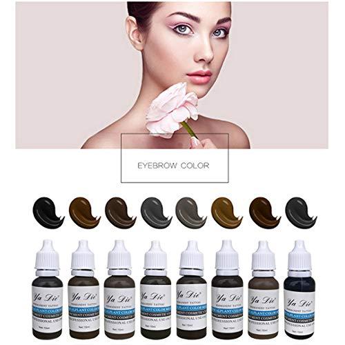 8 bottiglia 1/2 oz. permanente trucco Micro pigmento tatuaggio inchiostro sopracciglio eyeliner labbro corpo tatuaggio arte strumenti di bellezza Tatoo trucco inchiostro set