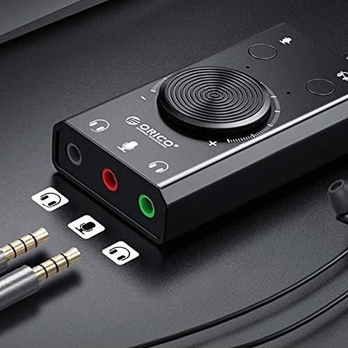 Scheda Audio USB, Adattatore Convertitore Splitter Audio USB Esterno 3 Porte, con Controllo del Volume per Windows e Mac, Plug And Play, Nessun Driver Richiesto
