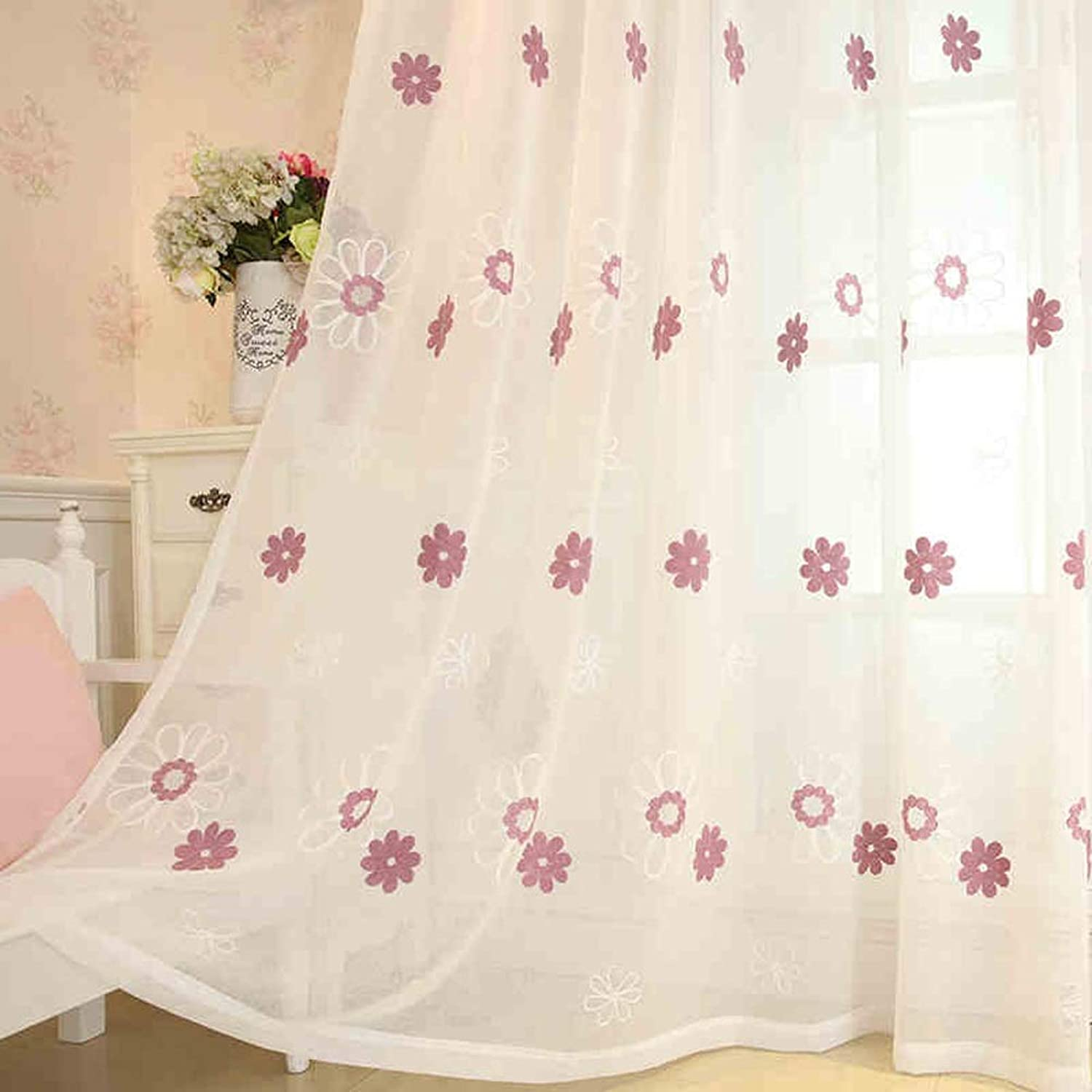 WAN SAN QIAN- Simple Hook Window Curtain - Embroidered Window Screen Bedroom Bay Window Curtains curtain (Size   100x260cm)