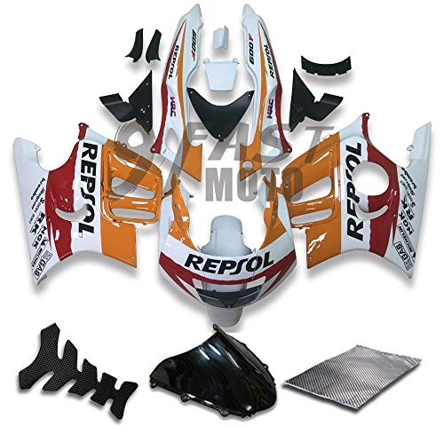 9FastMoto Fairings for honda 1997 1998 CBR600F3 CBR600F 97 98 CBR 600 F3 Motorcycle Fairing Kit ABS Injection Set Sportbike Cowls Panels (Orange & White) H1288