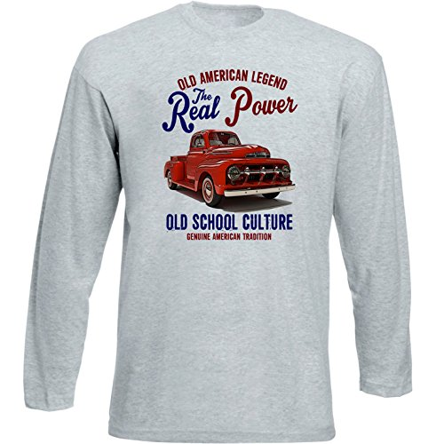 TEESANDENGINES Ford F1 Pick UP Truck 1 Tshirt de Manga Larga Gris...