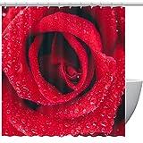 MUMIMI Duschvorhänge mit rot-orangenem Tulpenmotiv, umweltfre&lich, aus Stoff, langlebig, wasserdicht, für Zuhause, mit 12 Haken, 152,4 x 182,9 cm, Polyester, Color2, 60