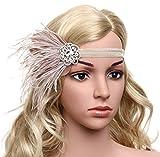 BABEYOND Años 20 Flapper Diadema de Pluma Diadema Gatsby Vintage Cinta para el Pelo con...