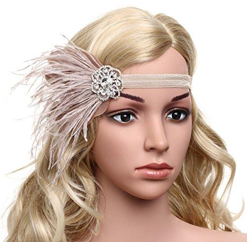 BABEYOND Años 20 Flapper Diadema de Pluma Diadema Gatsby Vintage Cinta para el Pelo con Cristal Accesorios Vintage Disfraz Gran Gatsby Fiesta Temática Prom