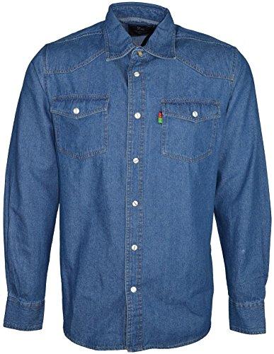 Duke London Occidental Hommes Délavé Chemise en Jeans - Pierre Délavé, 6XL