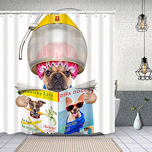Cortina de Baño con 12 Ganchos,Perro en la peluquería,Cortina Ducha Tela Resistente al Agua para baño,bañera 180X180cm